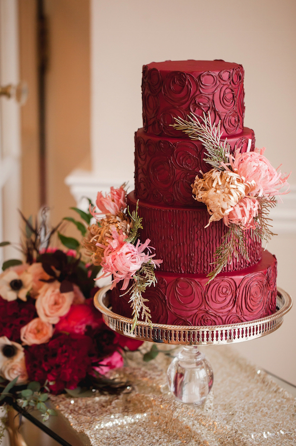 Marsala Red Wedding Cake