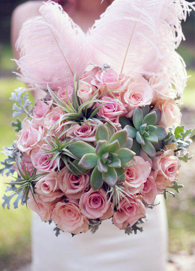 Pastel Pink Roses And Succulents Bouquet
