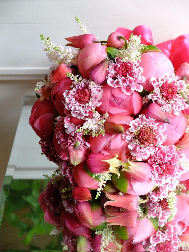 Pink bridal bouquet - peonies, scabiosa, astilbe and clematis