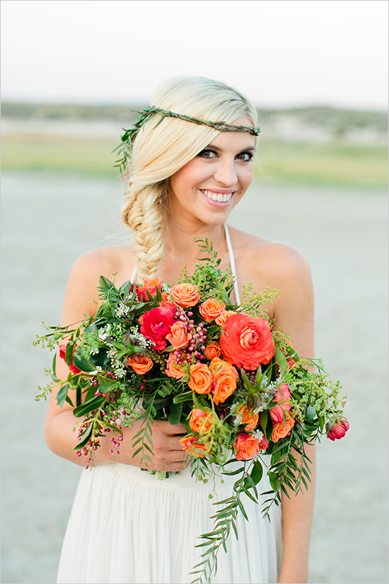 Pretty orange beach bouquet