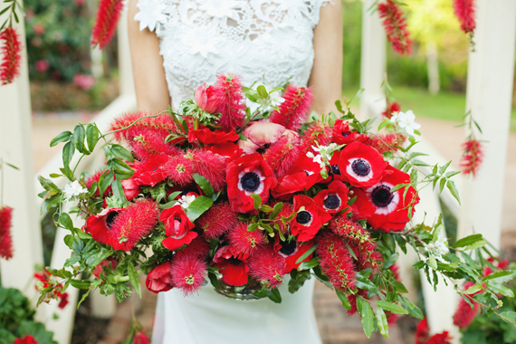 Red Boquuet - Anemones and Bottlebrush