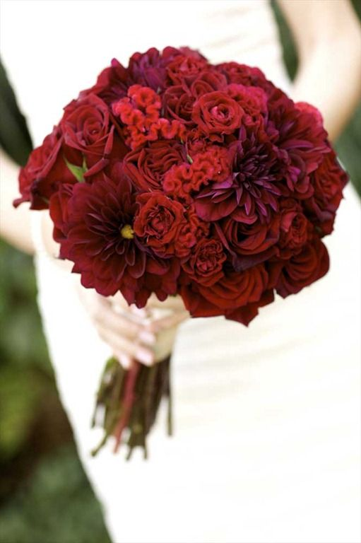 Red Textured Bouquet - Dahlias, Roses and Coxcomb - Bouquet Wedding ...