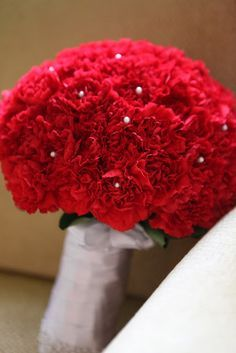 Red Carnations Bridal Bouquet
