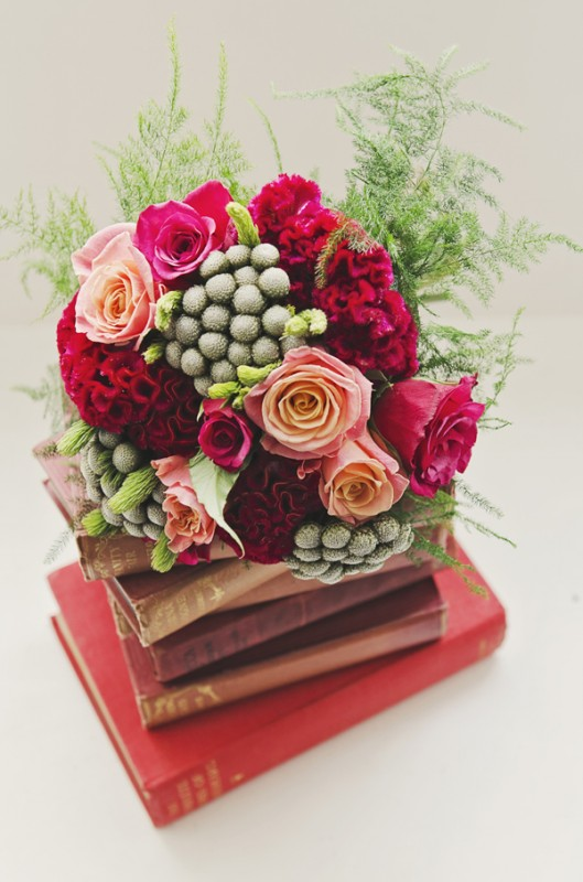 red coxcomb and roses boquuet 1