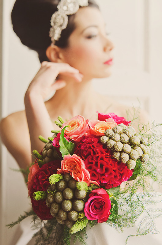 Red coxcomb and roses bouquet