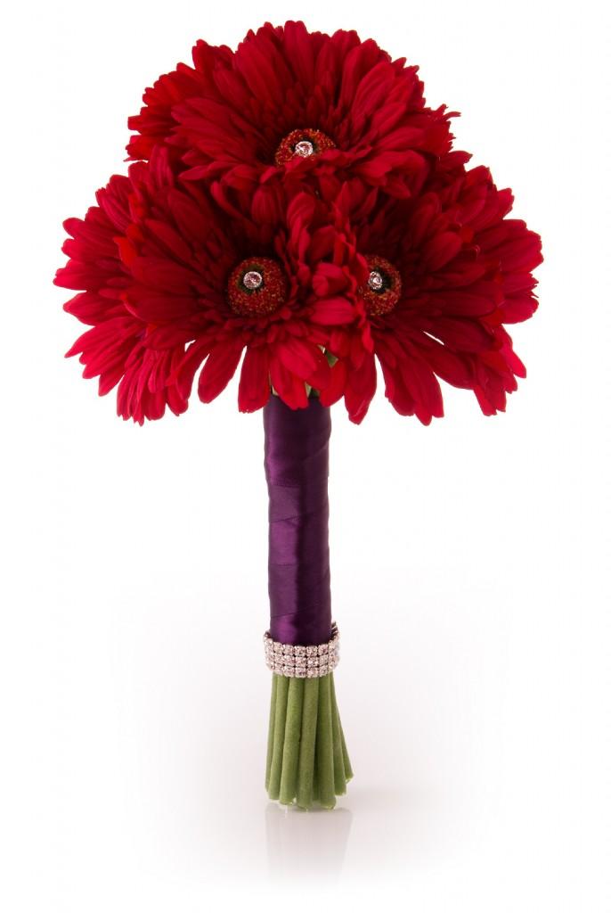 red gerbera bouquet bride