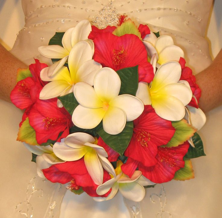 Red hibiscus bouquets and frangiapani - Bouquet Wedding Flower