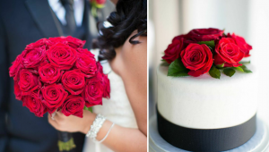 red roses boquet and wedding cake