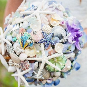 seashell and brooch wedding bouquet