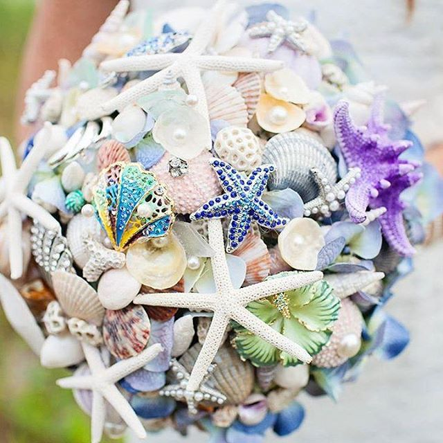 Seashells and Broaches Wedding Bouquet