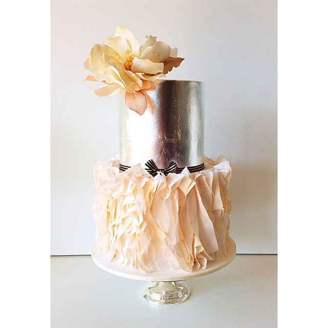 Silver and Ruffles Wedding Cake