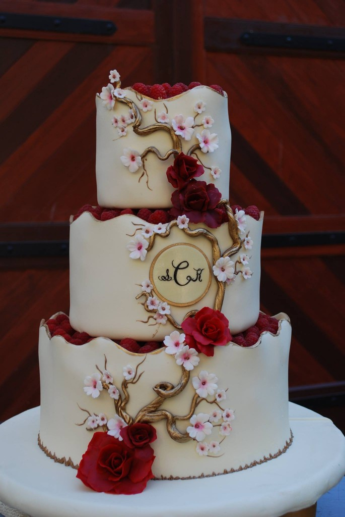 Sugar Cherry Blossoms Red Roses And Raspberries Stunning Three Tiered Round Wedding Cake