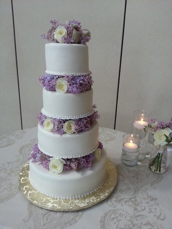Wedding Cake in Lavender and White