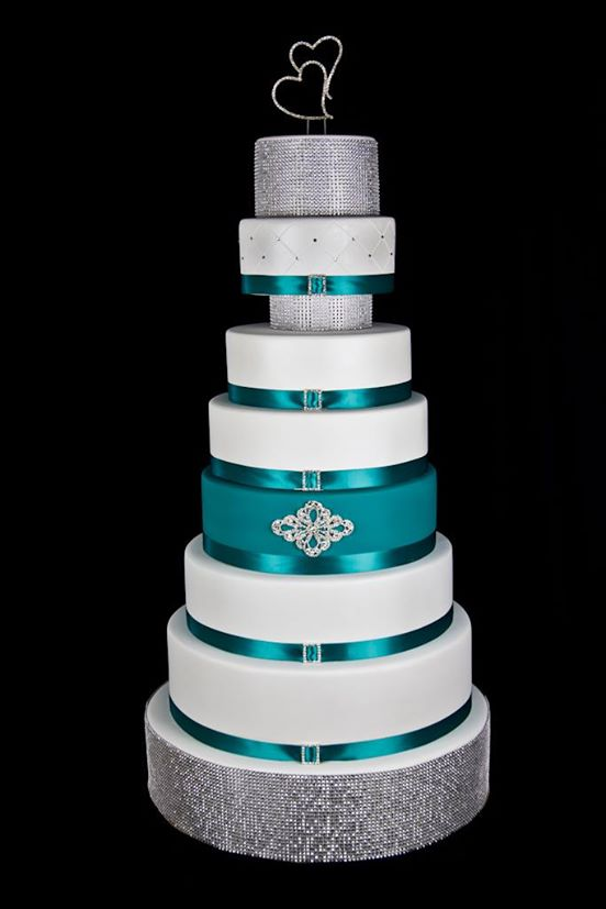 White Teal And Silver Wedding Cake