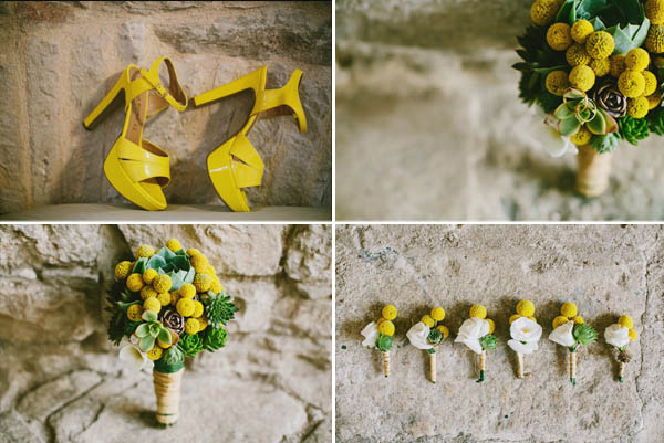 yellow bouquet and yellow shoes