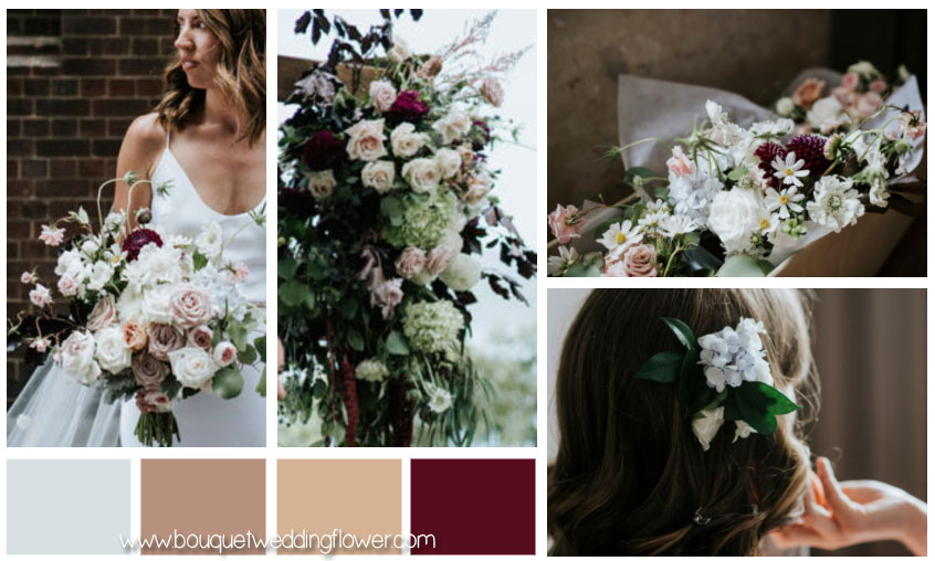 Bride Bouquet of White, Ivory and Burgundy