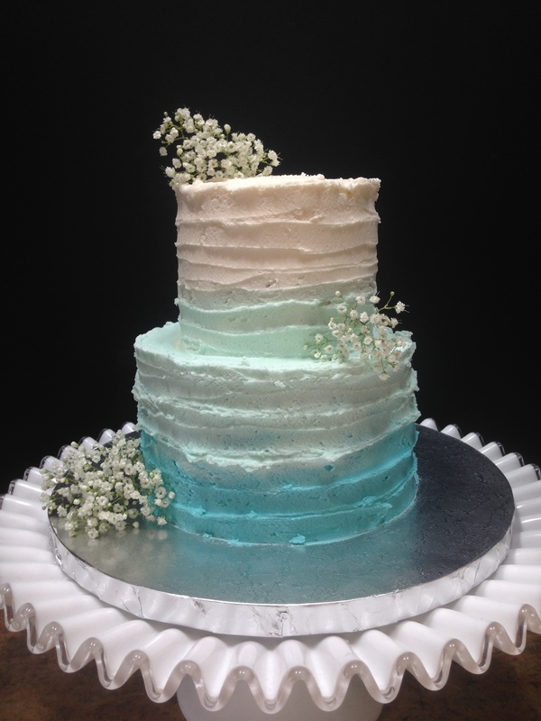 Ombre Buttercream Wedding Cake in teal and white
