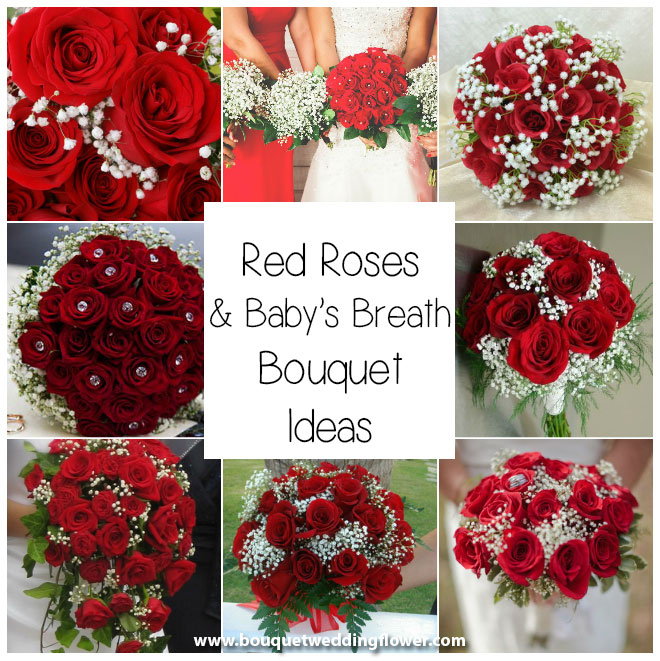 Red Roses Bouquet with Baby's Breath Flowers