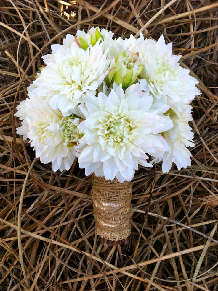 Rustic white dahlia bouquet