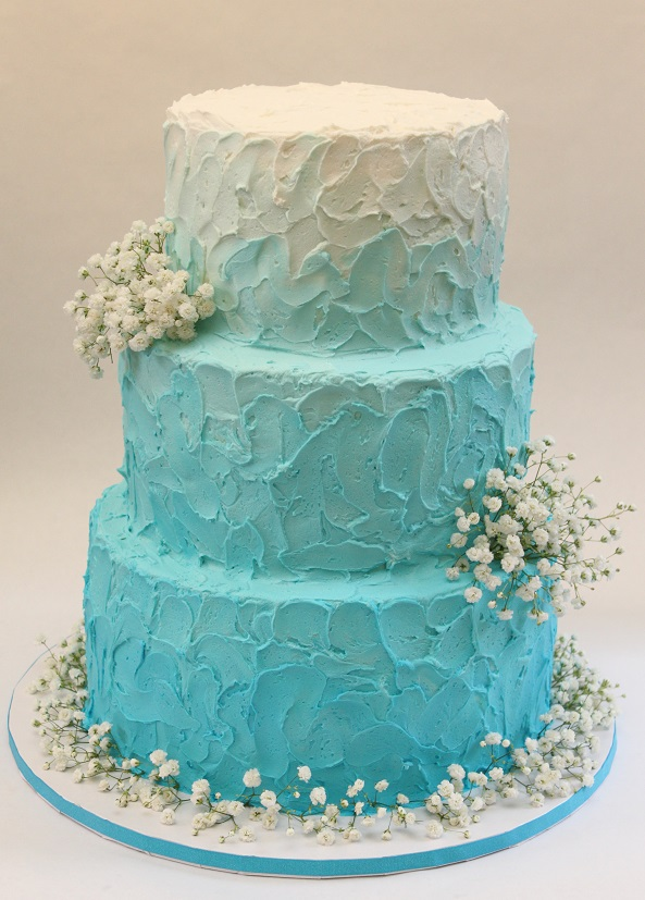 Aqua Ombre Wedding Cake Ideas