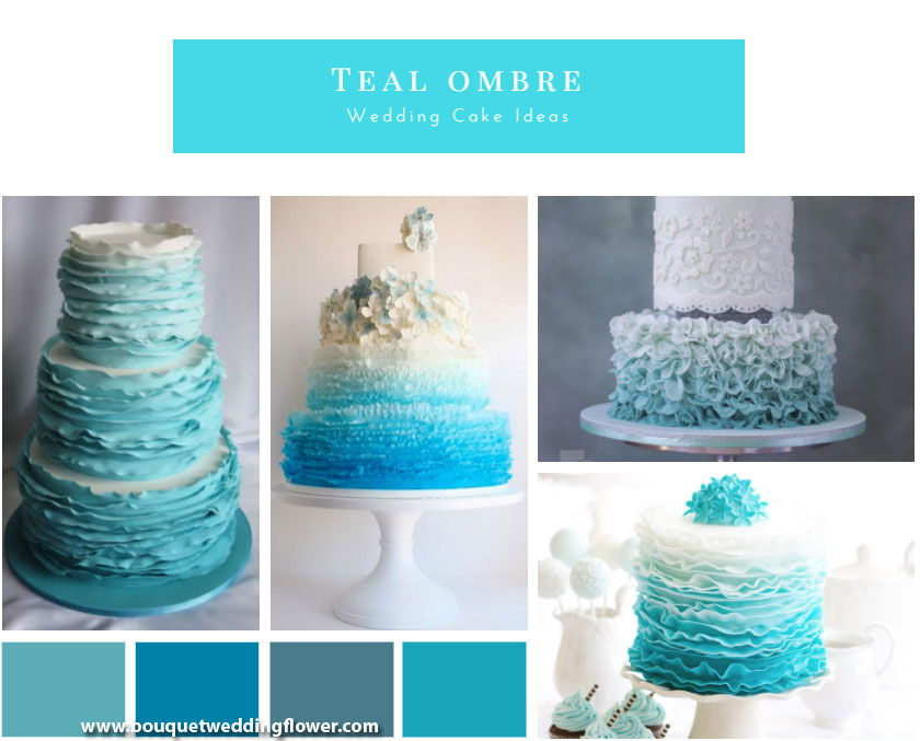 More Than 20 Teal Ombre Wedding Cake Ideas
