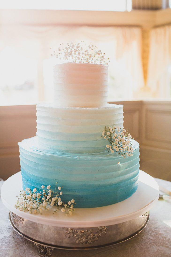 Aqua And Blue Ombre Wedding Cake