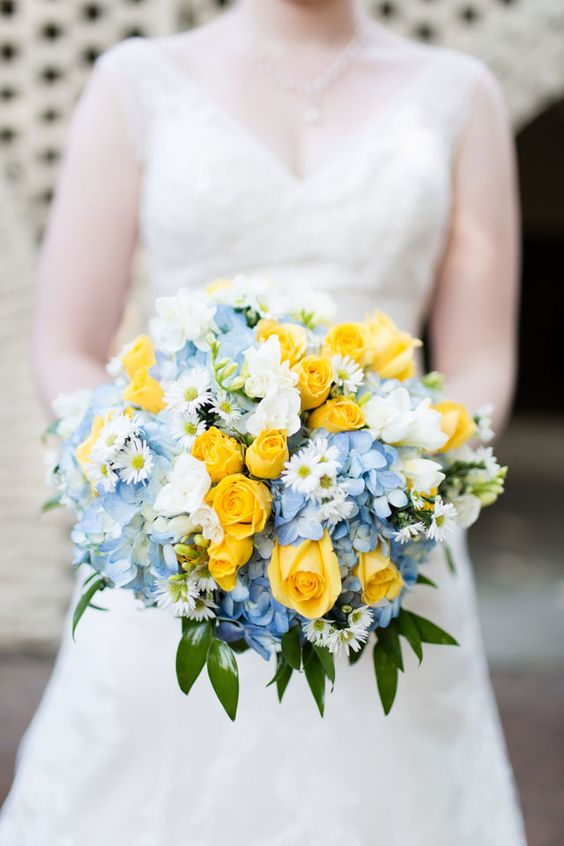 cheerful hues of yellow and blue bouquet