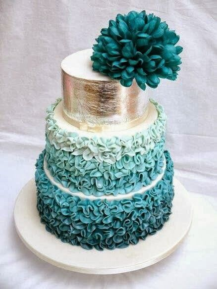 One Tier Teal Ruffle Wedding Cake Designs