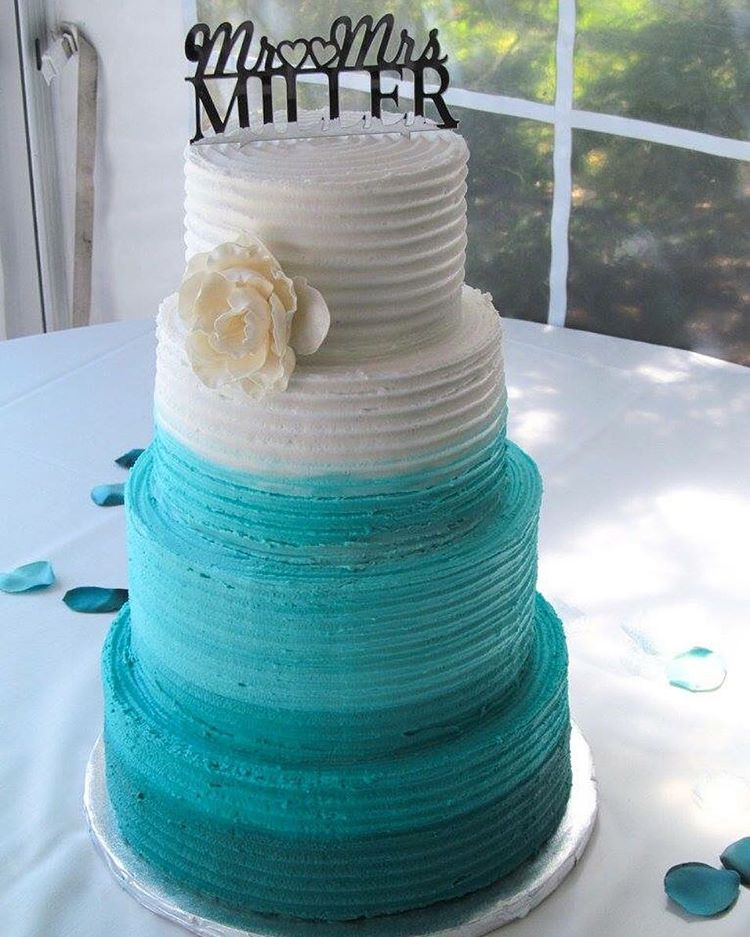 teal ombré wedding cake
