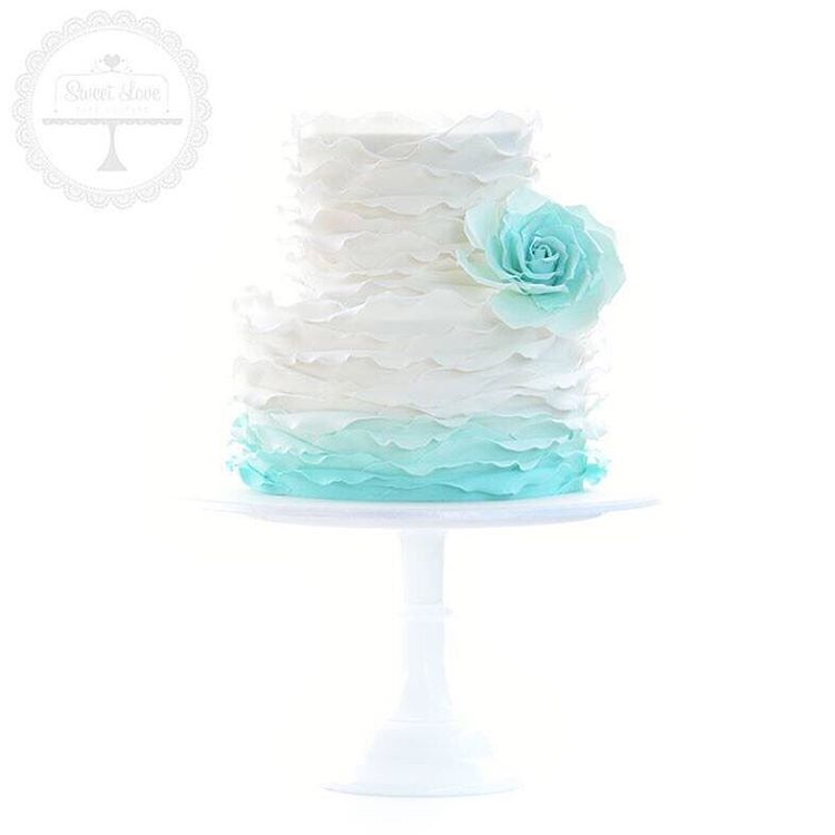 Teal Ombre Wedding Cake Ideas
