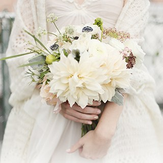 white dahlias and anemone bouquet