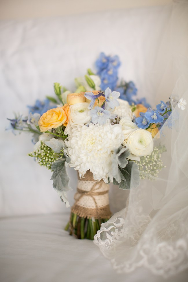 white yellow and blue bride bouquet