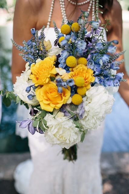 yellow roses, delphinium, billy balls and lavender